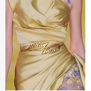 Gold Metal Leaf Elastic Band Belts